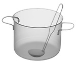 X-ray image of a soup pot with ladle (black on white) by Jim Wehtje, specialist in x-ray art and design images.
