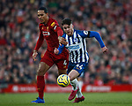 Virgil van Dijk of Liverpool grabs Aaron Connolly of Brighton during the Premier League match at Anfield, Liverpool. Picture date: 30th November 2019. Picture credit should read: Simon Bellis/Sportimage