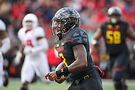 College Park, MD - November 26, 2016: Maryland Terrapins quarterback Tyrrell Pigrome (3) scores a touchdown during game between Rutgers and Maryland at  Capital One Field at Maryland Stadium in College Park, MD.  (Photo by Elliott Brown/Media Images International)