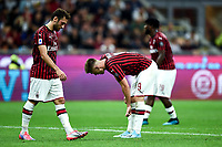 Hakan Calhanoglu of AC Milan , Krzysztof Piatek of AC Milan  dejection <br /> Milano 29/09/2019 Stadio Giuseppe Meazza <br /> Football Serie A 2019/2020 <br /> AC Milan - ACF Fiorentina   <br /> Photo Image Sport / Insidefoto