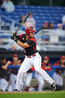Batavia Muckdogs designated hitter Branden Berry (35) at bat during a game against the Hudson Valley Renegades on August 1, 2016 at Dwyer Stadium in Batavia, New York.  Hudson Valley defeated Batavia 5-1. (Mike Janes/Four Seam Images)