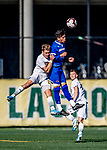 26 October 2019: University of Massachusetts Lowell River Hawk Backfielder German Fuentes, a Sophomore from Joroco, El Salvador, and University of Vermont Catamount Defender Ívar Örn Árnason, a Senior from Akureyri, Iceland, go up for the ball in the first half of NCAA Soccer play at Virtue Field in Burlington, Vermont. The Catamounts rallied to defeat the River Hawks 2-1, propelling the Cats to the America East Division 1 conference playoffs. Mandatory Credit: Ed Wolfstein Photo *** RAW (NEF) Image File Available ***
