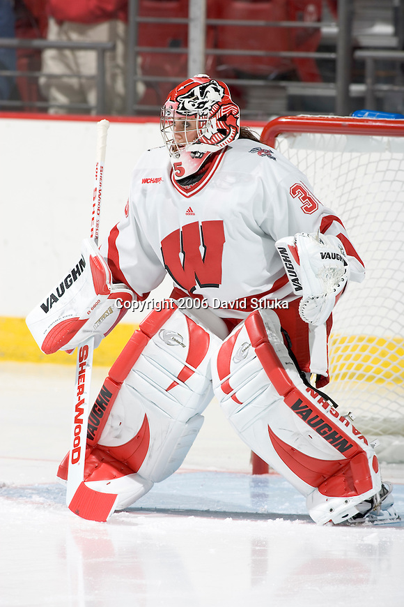 MADISON, WI - SEPTEMBER 29: Alannah McCready #35 of the Wisconsin Badgers women's hockey team skates during warmups prior to the game against the Quinnipiac Bobcats at the Kohl Center on September 29, 2006 in Madison, Wisconsin. The Badgers beat the Bobcats 3-0. (Photo by David Stluka)