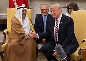 United States President Donald J. Trump meets with Amir Sabah al-Ahmed al-Jaber al-Sabah of Kuwait in the Oval Office of The White House in Washington, DC, September 7, 2017. <br /> Credit: Chris Kleponis / Pool via CNP