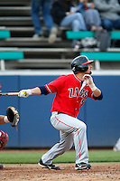 Clayton Eslick #5 of the Gonzaga Bulldogs bats against the Loyola Marymount Lions at Page Stadium on March 28, 2013 in Los Angeles, California. (Larry Goren/Four Seam Images)