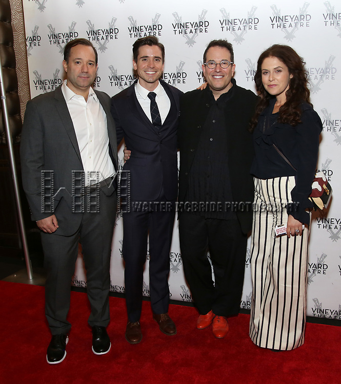 Greg Smith, Matt Doyle, Michael Mayer and Amanda Lipitz attends the Vineyard Theatre Gala 2018 honoring Michael Mayer at the Edison Ballroom on May 14, 2018 in New York City.
