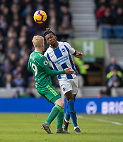 Watford's Will Hughes (left) battles with Brighton & Hove Albion's Gaetan Bong (right)  <br /> <br /> Photographer David Horton/CameraSport<br /> <br /> The Premier League - Brighton and Hove Albion v Watford - Saturday 2nd February 2019 - The Amex Stadium - Brighton<br /> <br /> World Copyright © 2019 CameraSport. All rights reserved. 43 Linden Ave. Countesthorpe. Leicester. England. LE8 5PG - Tel: +44 (0) 116 277 4147 - admin@camerasport.com - www.camerasport.com