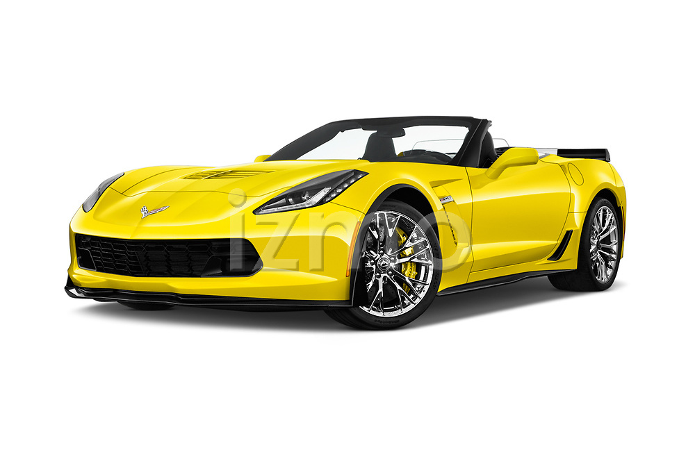 Stock pictures of low aggressive front three quarter view of 2018 Chevrolet Corvette Z06-3LZ 2 Door Convertible Low Aggressive
