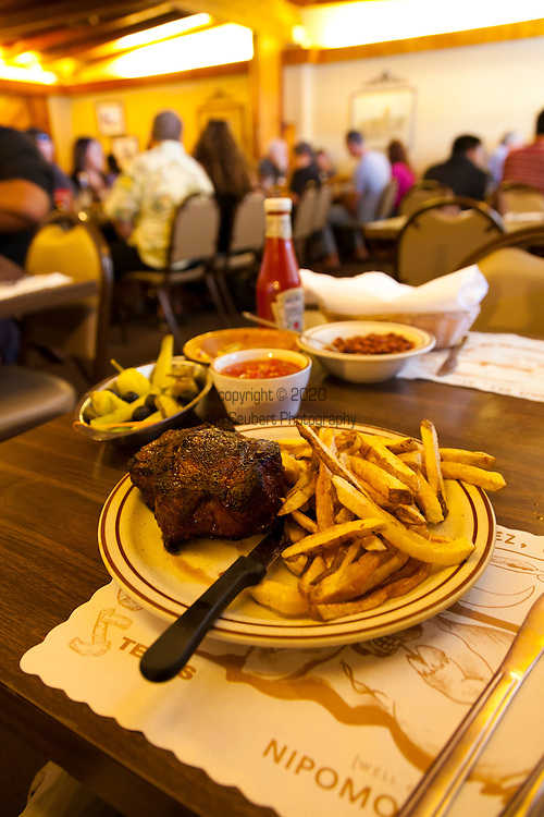"""Jocko's Steak House in Nipomo, CA. The dining rooms. The small """"Spencer"""" Rib Eye steak, cooked to medium"""
