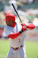 OAKLAND, CA - June 20:  Ken Griffey Jr. of the Cincinnati Reds bats during the game against the Oakland Athletics at the McAfee Coliseum in Oakland, California on June 20, 2007. Photo by Brad Mangin