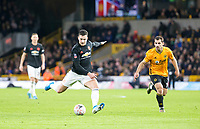 4th January 2020; Molineux Stadium, Wolverhampton, West Midlands, England; English FA Cup Football, Wolverhampton Wanderers versus Manchester United; Diogo Dalot of Manchester United taking a shot at goal in the final minutes of the match - Strictly Editorial Use Only. No use with unauthorized audio, video, data, fixture lists, club/league logos or 'live' services. Online in-match use limited to 120 images, no video emulation. No use in betting, games or single club/league/player publications