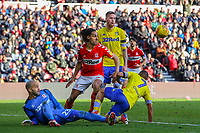 Middlesbrough's Darren Randolph saves from Leeds United's Kemar Roofe<br /> <br /> Photographer Alex Dodd/CameraSport<br /> <br /> The EFL Sky Bet Championship - Middlesbrough v Leeds United - Saturday 9th February 2019 - Riverside Stadium - Middlesbrough<br /> <br /> World Copyright © 2019 CameraSport. All rights reserved. 43 Linden Ave. Countesthorpe. Leicester. England. LE8 5PG - Tel: +44 (0) 116 277 4147 - admin@camerasport.com - www.camerasport.com