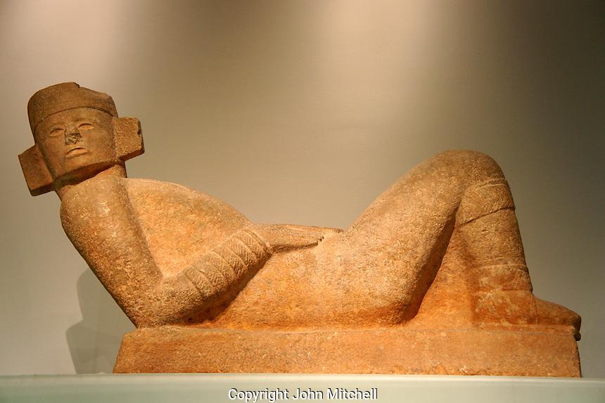 Chac Mool sculpture from Chichen Itza,  Gran Museo del Mundo Maya museum in Merida, Yucatan, Mexico      .