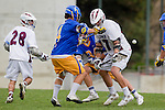 Los Angeles, CA 04/02/10 - Kenny Smith (UCSB #4) and Magnus Karlsson (LMU #17) in action during the UCSB-LMU MCLA SLC conference lacrosse game at Loyola Marymount University.