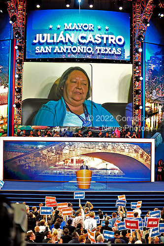 Mayor Julian Castro of San Antonio, Texas and candidate for the United States House of Representatives, delivers the Keynote Address as his mother looks on at the 2012 Democratic National Convention in Charlotte, North Carolina on Tuesday, September 4, 2012.  .Credit: Ron Sachs / CNP.(RESTRICTION: NO New York or New Jersey Newspapers or newspapers within a 75 mile radius of New York City)