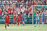 Portland, OR - Saturday August 05, 2017: Portland Thorns FC celebrate Emily Sonnett's goal during a regular season National Women's Soccer League (NWSL) match between the Portland Thorns FC and the Houston Dash at Providence Park.