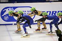 SCHAATSEN: DORDRECHT: Sportboulevard, Korean Air ISU World Cup Finale, 10-02-2012, Relay Men, Satoshi Sakashita JPN (45), Yoshiaki Oguro JPN (44), Jinkyu Noh KOR (54), Da Woon Sin KOR (55) , ©foto: Martin de Jong