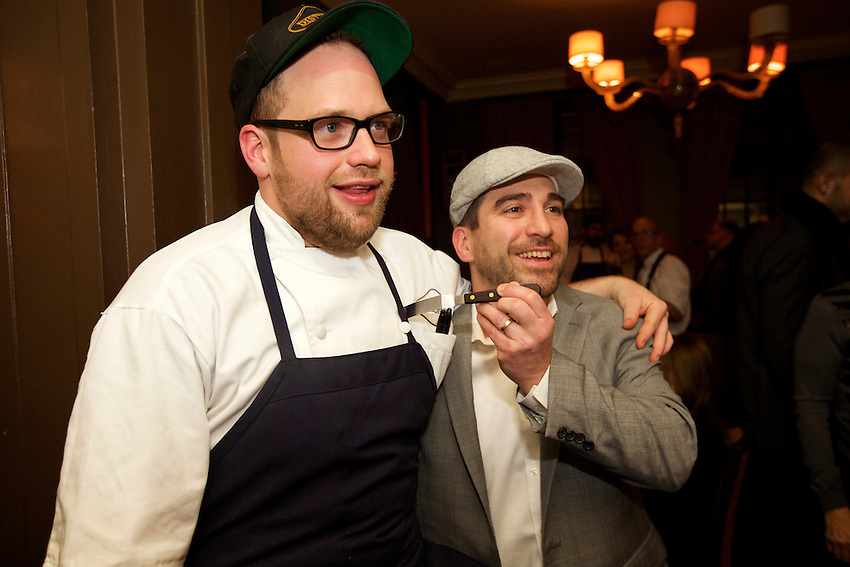 New York, NY - February 10, 2016: Chef Shane Lyons and the team from Distilled New York cook dinner at the James Beard House.<br /> <br /> CREDIT: Clay Williams for The James Beard Foundation.<br /> <br /> &copy; Clay Williams / claywilliamsphoto.com