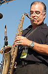 "Joe ""Pags"" Pagliarulo plays the Star Spangled Banner on his saxaphone at the North Houston Tea Party Rally at Sam Houston Race Park"