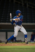 AZL Rangers third baseman Jonathan Ornelas (10) at bat during an Arizona League game against the AZL Cubs 2 at Sloan Park on July 7, 2018 in Mesa, Arizona. AZL Rangers defeated AZL Cubs 2 11-2. (Zachary Lucy/Four Seam Images)
