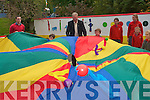 Pupils at Holy Cross Mercy National School  in Killarney celebrating their achievement of becoming the first Kerry school to raise an active flag.