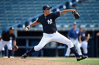 New York Yankees pitcher Cesar Vargas (22) during an Instructional League game against the Toronto Blue Jays on September 24, 2014 at George M. Steinbrenner Field in Tampa, Florida.  (Mike Janes/Four Seam Images)