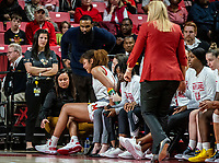 COLLEGE PARK, MD - JANUARY 26: Shakira Austin #1 of Maryland grimaces with pain as she leaves the game with a knee injury during a game between Northwestern and Maryland at Xfinity Center on January 26, 2020 in College Park, Maryland.