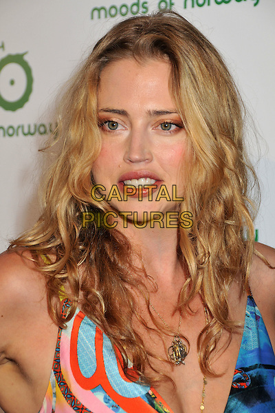ESTELLA WARREN.Moods of Norway U.S. Flagship Store Launch Event held at Moods of Norway on Robertson Blvd, Los Angeles, CA, USA..July 8th, 2009.headshot portrait blue pattern print gold necklaces .CAP/ADM/BP.©Byron Purvis/AdMedia/Capital Pictures.