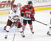 Jimmy Hayes (BC - 10), Tyler McNeely (Northeastern - 94) - The Boston College Eagles tied the visiting Northeastern University Huskies 7-7 on Friday, February 18, 2011, at Conte Forum in Chestnut Hill, Massachusetts.