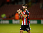 Ched Evans of Sheffield Utd applauds the fans during the Carabao Cup First Round match at Bramall Lane Stadium, Sheffield. Picture date: August 9th 2017. Pic credit should read: Simon Bellis/Sportimage