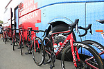 Team Katusha Alpecin Canyon bikes lined up at the team bus before the start of Stage 4 of La Vuelta 2019 running 175.5km from Cullera to El Puig, Spain. 27th August 2019.<br /> Picture: Eoin Clarke | Cyclefile<br /> <br /> All photos usage must carry mandatory copyright credit (© Cyclefile | Eoin Clarke)