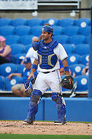 Dunedin Blue Jays catcher Jorge Saez (12) during the first game of a doubleheader against the Palm Beach Cardinals on August 2, 2015 at Florida Auto Exchange Stadium in Dunedin, Florida.  Palm Beach defeated Dunedin 4-1.  (Mike Janes/Four Seam Images)