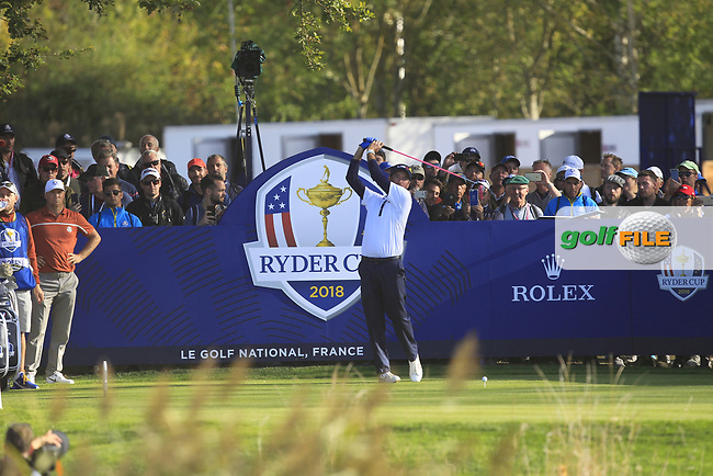 Bubba Watson (Team USA) on the 14th tee during Saturday Foursomes at the Ryder Cup, Le Golf National, Ile-de-France, France. 29/09/2018.<br /> Picture Thos Caffrey / Golffile.ie<br /> <br /> All photo usage must carry mandatory copyright credit (© Golffile | Thos Caffrey)