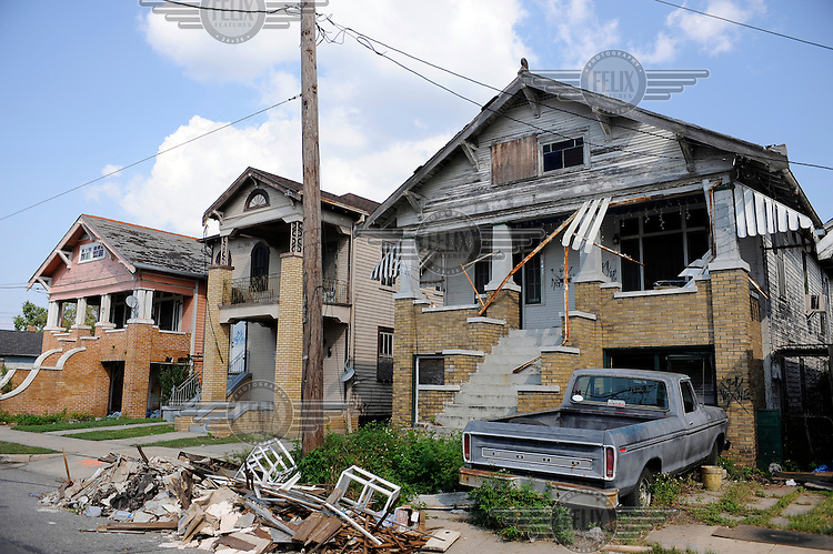 Houses damaged by Hurricane Katrina in the Lower 9th Ward.