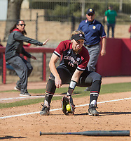 NWA Democrat-Gazette/BEN GOFF @NWABENGOFF<br /> Jana Johns, South Carolina third baseman, fields an Arkansas ground ball in the 7th inning Sunday, March 17, 2019, at Bogle Park in Fayetteville.