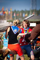Two Scouts from Czech Republik are fighting with the pillow. Photo: André Jörg/ Scouterna
