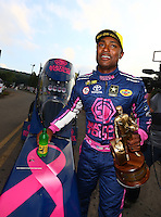 Oct 2, 2016; Mohnton, PA, USA; NHRA top fuel driver Antron Brown celebrates after winning the Dodge Nationals at Maple Grove Raceway. Mandatory Credit: Mark J. Rebilas-USA TODAY Sports