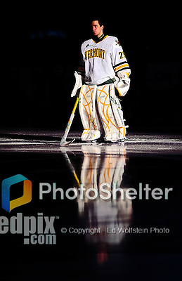 26 November 2010: University of Vermont Catamount goaltender Rob Madore, a Junior from Pittsburgh, PA, is introduced prior to a game against the Northeastern University Huskies at Gutterson Fieldhouse in Burlington, Vermont. The Huskies and Catamounts battled to a 2-2 tie. Mandatory Credit: Ed Wolfstein Photo