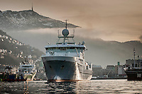 G.O. Sars, research vessel of Havforskningsinstitut / Institute of Marine Research sailing out from her base in Bergen, Norway.
