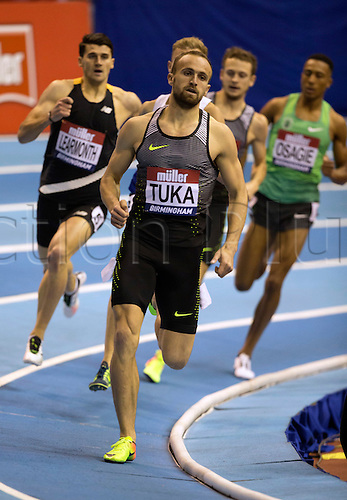 February 18th 2017,  Birmingham, Midlands, England; IAAF The Müller Indoor Grand Prix Athletics meeting; Amel Tuka (BSH) competing in the final of the Men's 800 Metres