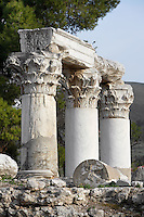 A detail of Temple E, on April 16, 2007 in Corinth, Greece. Origonally built during the early Augustan period, 1st century BC, Temple E was rebuilt after the earthquake of 77 AD. These three fine Corinthian capitals and columns, two of which have been reconstructed, are seen in the early morning light. Corinth, founded in Neolithic times, was a major Ancient Greek city, until it was razed by the Romans in 146 BC. Rebuilt a century later it was destroyed by an earthquake in Byzantine times. (Photo by Manuel Cohen/Getty Images)