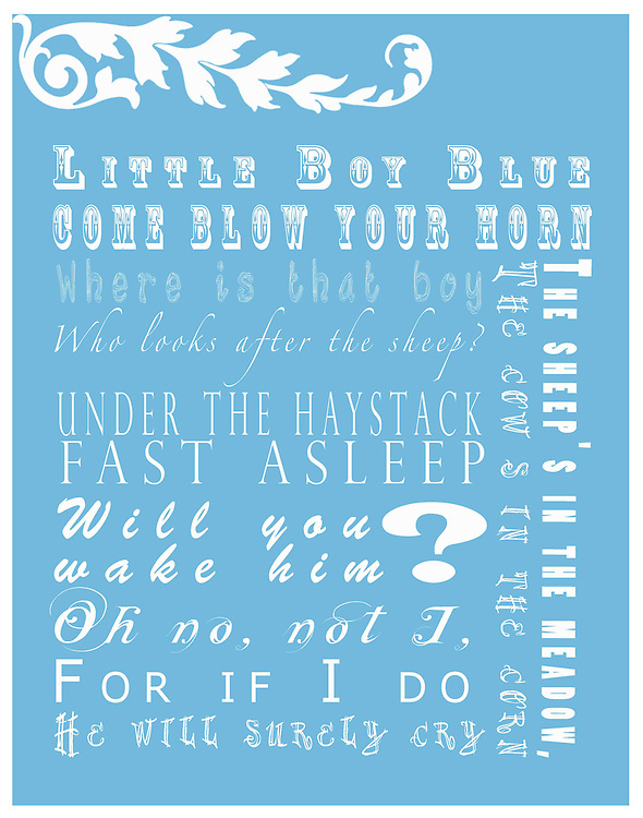 """Nursery Rhymes have been a part of many people's childhood memories. Tummy Tickles has designed these beautiful works of art to display in your child's room to give them a way to see nursery rhymes as a form of art and design. Tummy Tickles Nursery Rhyme prints will make your child's room pop and give their room personality. Prints are 11""""x14""""; for other sizes and products please visit www.tummyticklesphotos.com"""