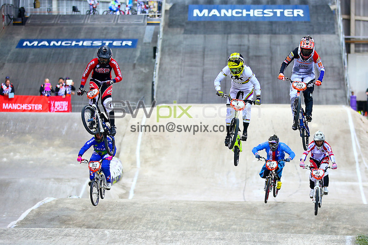 Picture by Alex Whitehead/SWpix.com - Cycling - 2014 UCI BMX Supercross World Cup - National BMX Centre, Manchester, England - 19/04/14 - Caroline Buchanan leads the race.