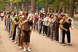 VIETNAM, Hanoi, women perform Tai Chi and stretch early in the morning, Hoan Kiem Lake