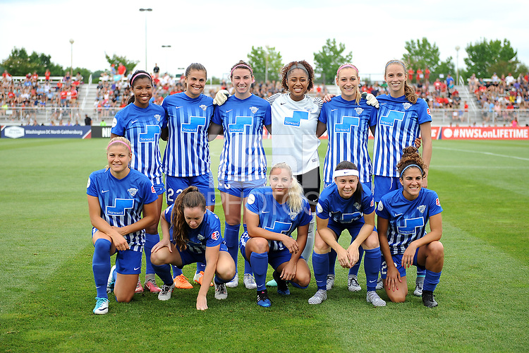 Boyds, MD - Saturday August 12, 2017: Boston Breakers Starting Eleven during a regular season National Women's Soccer League (NWSL) match between the Washington Spirit and the Boston Breakers at Maureen Hendricks Field, Maryland SoccerPlex.