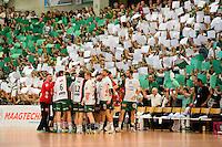 Mannschaft Frisch Auf vor dem Anpfiff, Zuschauer mit grün weisen Papieren