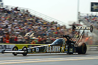 Sept. 22, 2012; Ennis, TX, USA: NHRA top fuel dragster driver Tony Schumacher during qualifying for the Fall Nationals at the Texas Motorplex. Mandatory Credit: Mark J. Rebilas-US PRESSWIRE