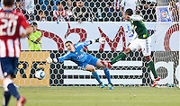 CARSON, CA – June 3, 2011: Portland Timbers goalie Troy Perkins (1) dives to block a shot on goal during the match between Chivas USA and Portland Timbers at the Home Depot Center in Carson, California. Final score Chivas USA 1, Portland Timbers 0.