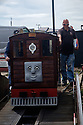 A carriage with a Thomas the Tank Engine & Friends face comes in for maintenance, Hastings Miniature Railway.