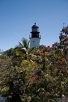 Key West lighthouse and museum as seen through the trees of Ernest Hemingway garden, Key West, Florida